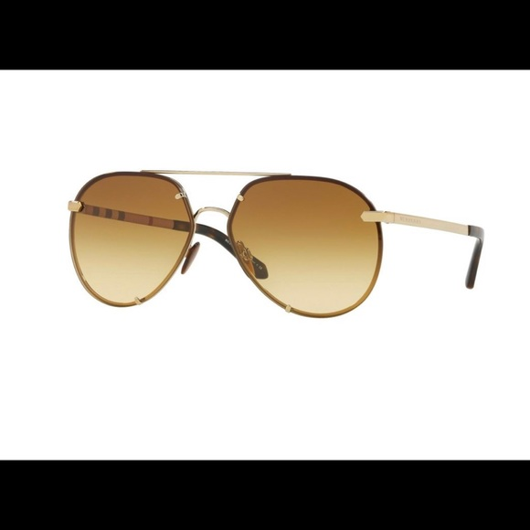 Burberry-Gold frame Aviator-Yellow/Gold riveted lens- BE3099 1145/2L Sunglasses
